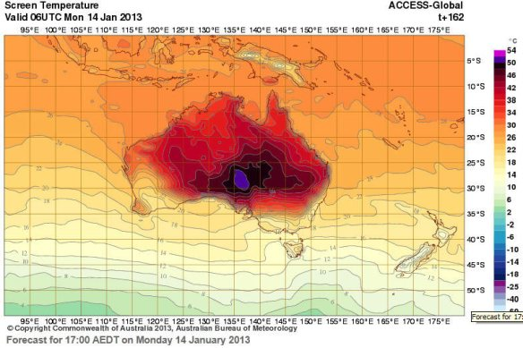 Australian Bureau of Metereology temperature map