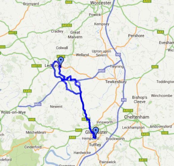 Gloucester - Ledbury bike map